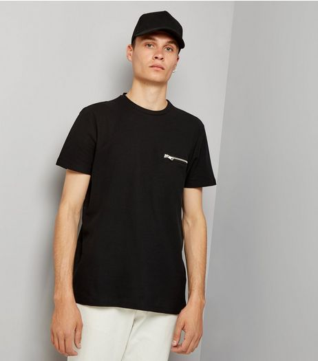 Black Zip Detail T-Shirt | New Look