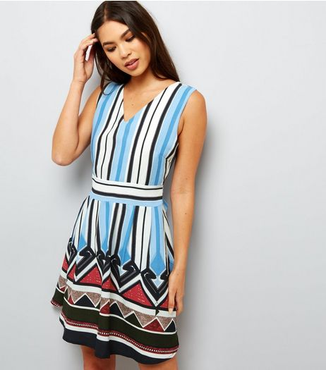 Mela Blue Stripe Contrast Hem Sleeveless Dress  | New Look