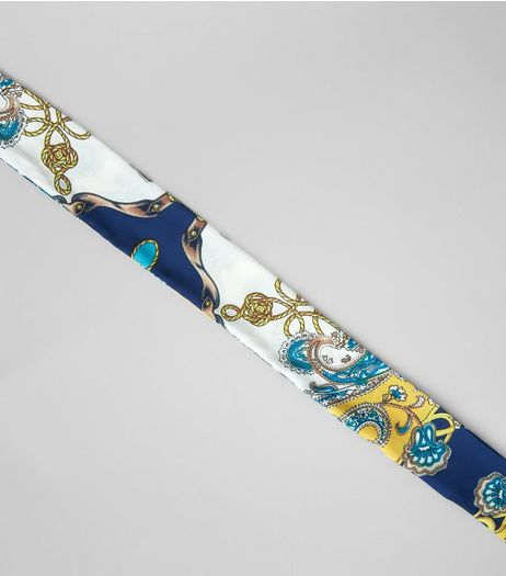 Blue Vintage Print Satin Necktie | New Look