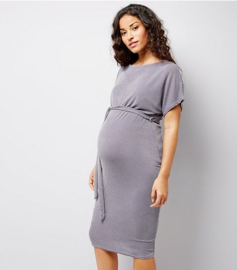 Maternity Grey Metallic Belted Midi Dress | New Look