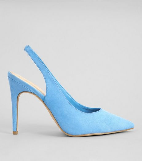 Wide Fit Light Blue Suedette Pointed Sling Back Heels | New Look