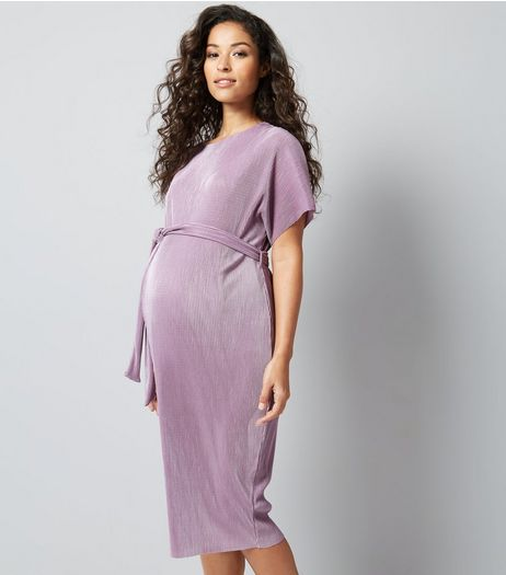 Maternity Lilac Pleated Tie Waist Midi Dress | New Look