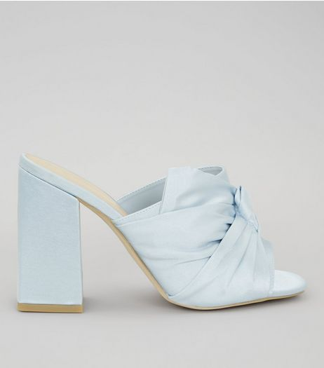 Wide Fit Blue Satin Twist Top Heeled Mules | New Look
