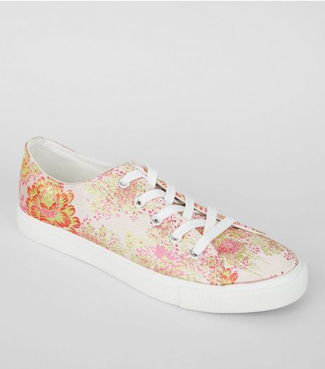 Pink Floral Brocade Satin Trainers | New Look