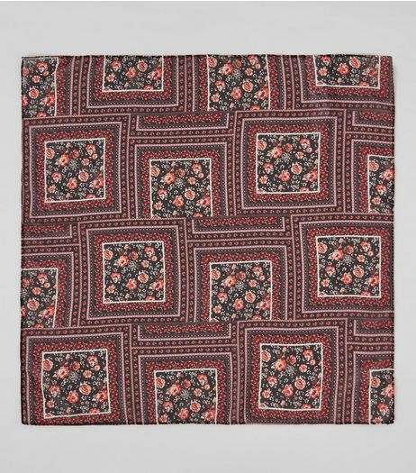 Red Floral Square Print Bandana | New Look