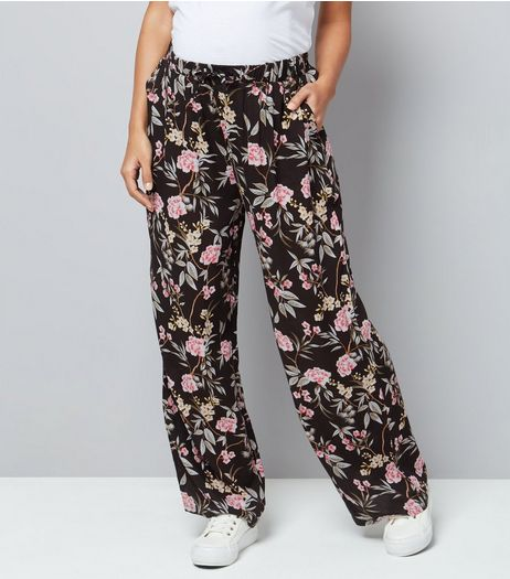 Maternity Black Floral Print Wide Leg Trousers | New Look