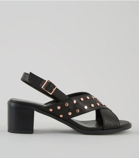 Wide Fit Black Cross Strap Sling Back Heels | New Look