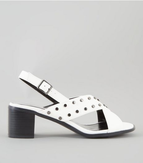 Wide Fit White Cross Strap Sling Back Heels | New Look