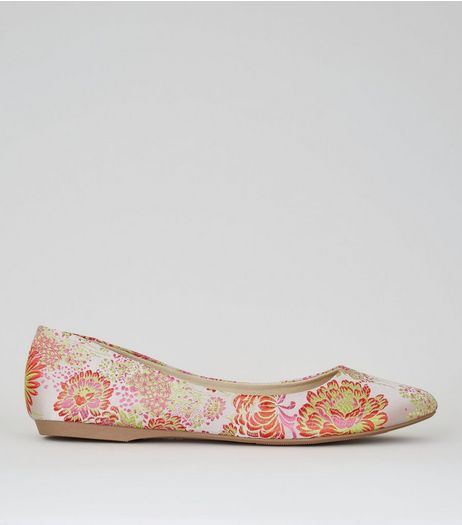 Pink Floral Brocade Pumps | New Look
