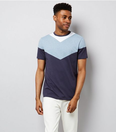 Navy Chevron Colour Block T-Shirt | New Look
