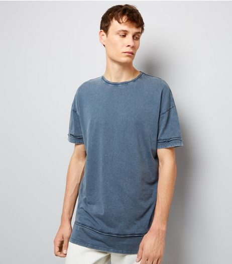 Blue Acid Washed Seam Detail T-Shirt | New Look