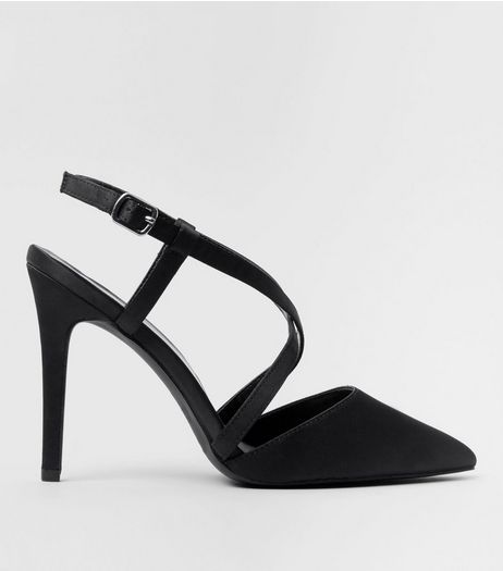 Wide Fit Black Satin Cross Strap Pointed Heels | New Look