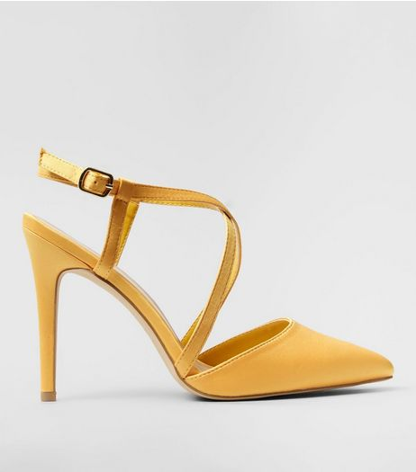 Wide Fit Yellow Satin Cross Strap Pointed Heels | New Look
