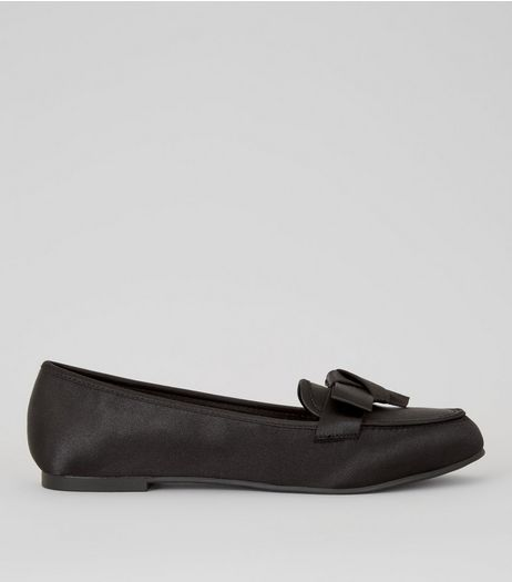 Black Satin Bow Front Loafers | New Look