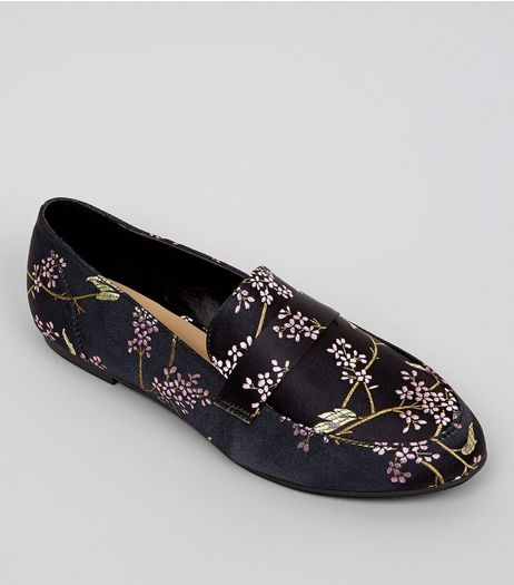 Black Satin Floral Brocade Loafers | New Look