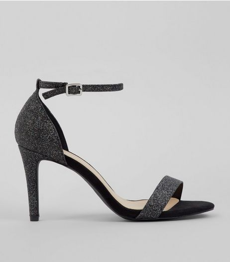 Wide Fit Black Glitter Heeled Sandals | New Look