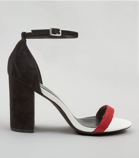 Wide Fit Red Contrast Strap Block Heels | New Look