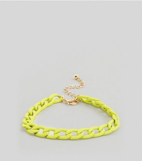 Neon Yellow Chunky Chain Anklet | New Look