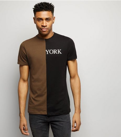 Black Colour Block Spliced T-Shirt  | New Look