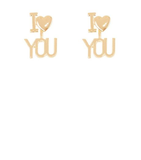 Gold I Heart You Earrings | New Look
