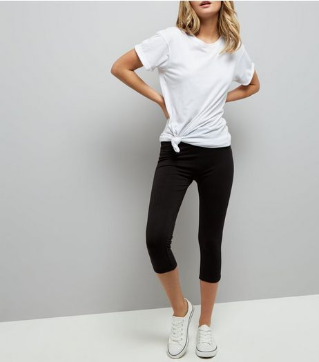 Black Cropped High Waist Leggings  | New Look