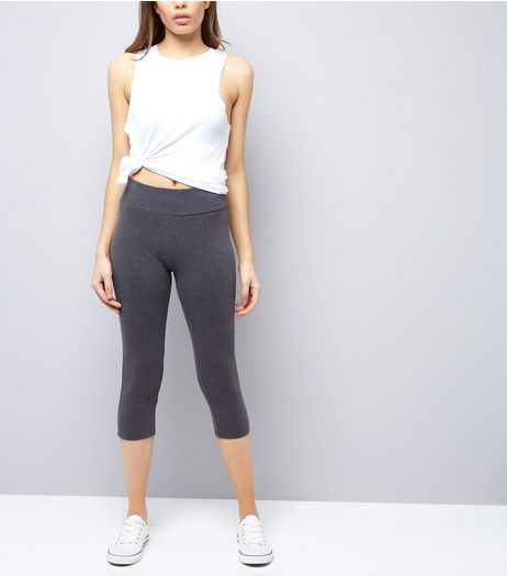 Dark Grey High Waisted Cropped Leggings  | New Look