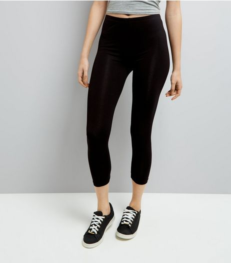Black Mid Length Leggings | New Look