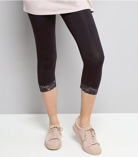 Black Lace Hem Cropped Leggings  | New Look
