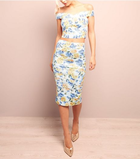 White Floral Print Bandage Midi Pencil Skirt  | New Look