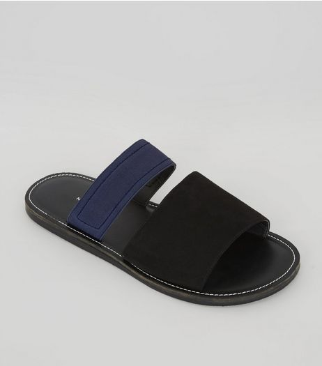 Black Contrast Elasticated Strap Sandals | New Look