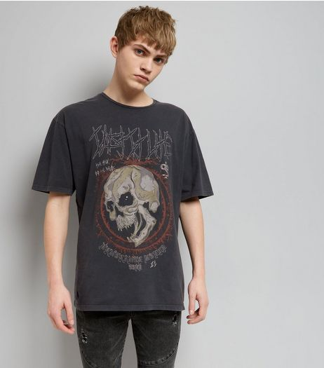 Dark Grey Acid Wash Skull Print Rock T-Shirt | New Look