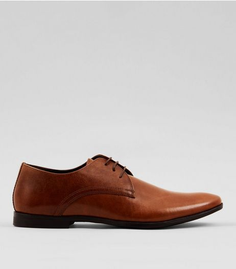 Tan Leather Derby Shoes | New Look