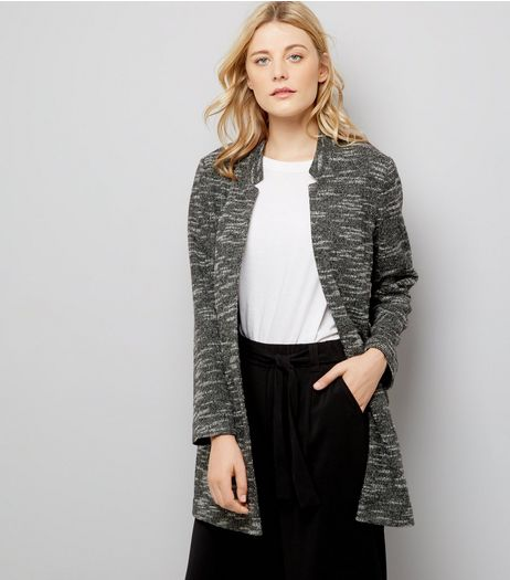 Charcoal Brushed Jersey Longline Jacket | New Look