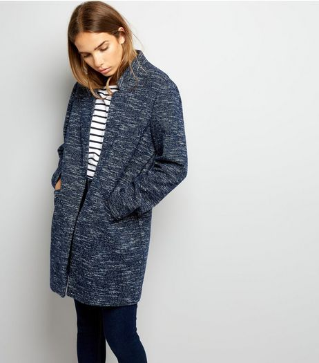 Navy Brushed Jersey Longline Jacket | New Look