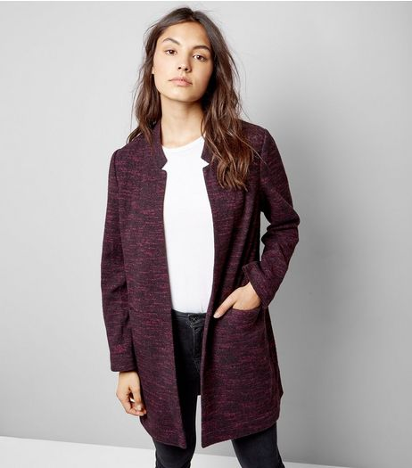 Burgundy Brushed Jersey Longline Jacket | New Look