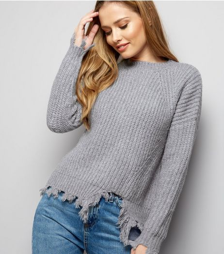 Grey Frayed Hem Jumpers | New Look