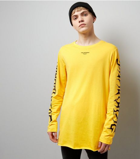 Yellow Say Nothing Sleeve Print Long Sleeve T-Shirt | New Look