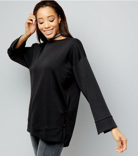 Black Longline Step Hem Sweater | New Look
