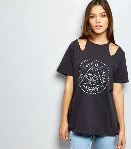 Dark Grey Eye Studded Cut Out Short Sleeve T-Shirt  | New Look