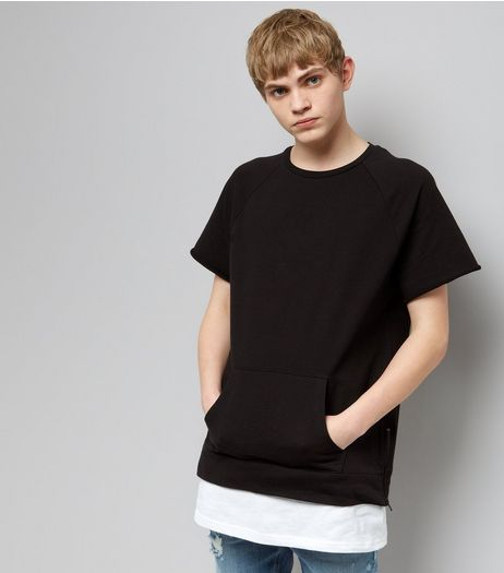 Black Short Sleeve Side Zip Layered Sweater | New Look