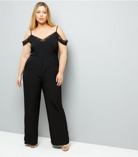 Curves Black Lace Trim Cold Shoulder Playsuit | New Look