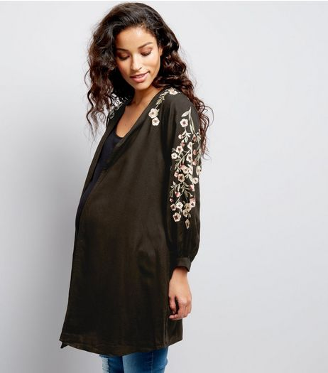 Maternity Black Floral Embroidered Kimono | New Look