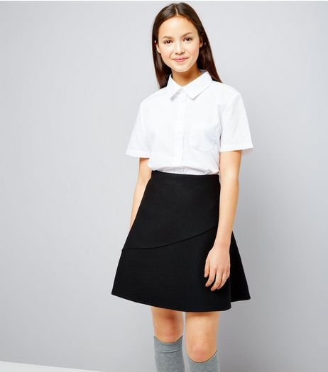 Teens Black Knitted Skater Skirt | New Look