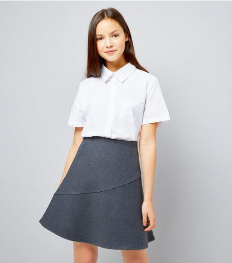 Teens Grey Knitted Skater Skirt | New Look