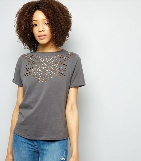 Grey Cut Out Stud Detail T-Shirt | New Look