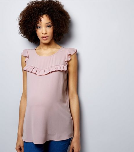 Maternity Lilac Frill Trim Cap Sleeve Top | New Look