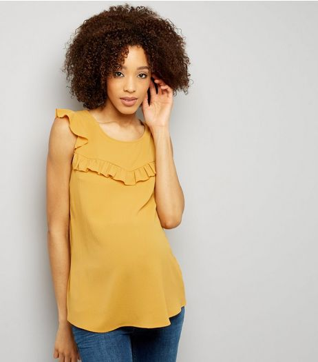Maternity Yellow Frill Trim Cap Sleeve Top | New Look