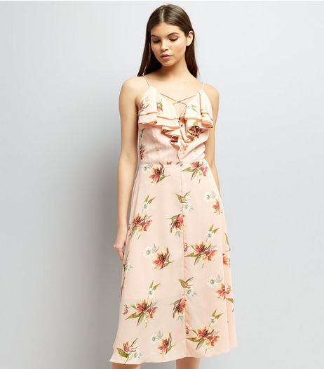 Shell Pink Floral Print Frill Trim Front Midi Dress | New Look