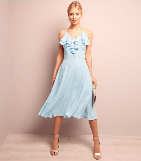 Pale Blue Frill Trim Chiffon Midi Dress | New Look