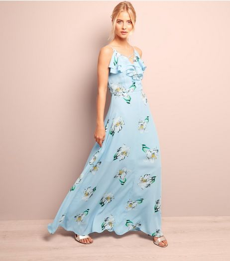 Blue Floral Print Frill Trim Maxi Dress  | New Look